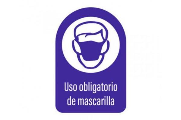 Vinilo adhesivo señal de obligación para uso de mascarilla