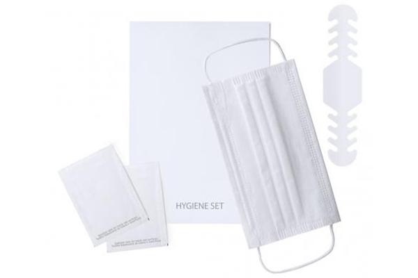 Sets higienicos pack con mascarilla, salvaorejas personalizado y toallitas personalizadas